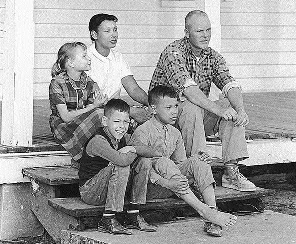 *Richard and Mildred Loving at their home in Central Point, Va., with their children, from left, Peggy, Donald and Sidney, in 1967 via Associated Press