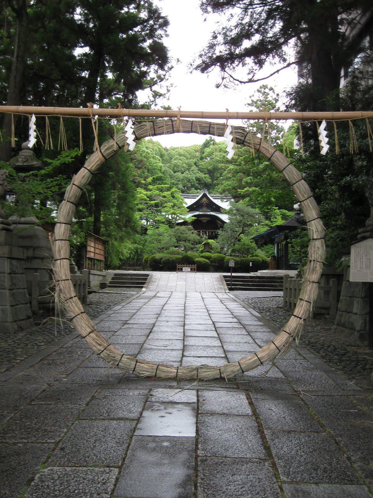 *Photo via  Kyotouzuki  of  chinowa  wreath at Okazaki Shrine in Kyoto, Japan.