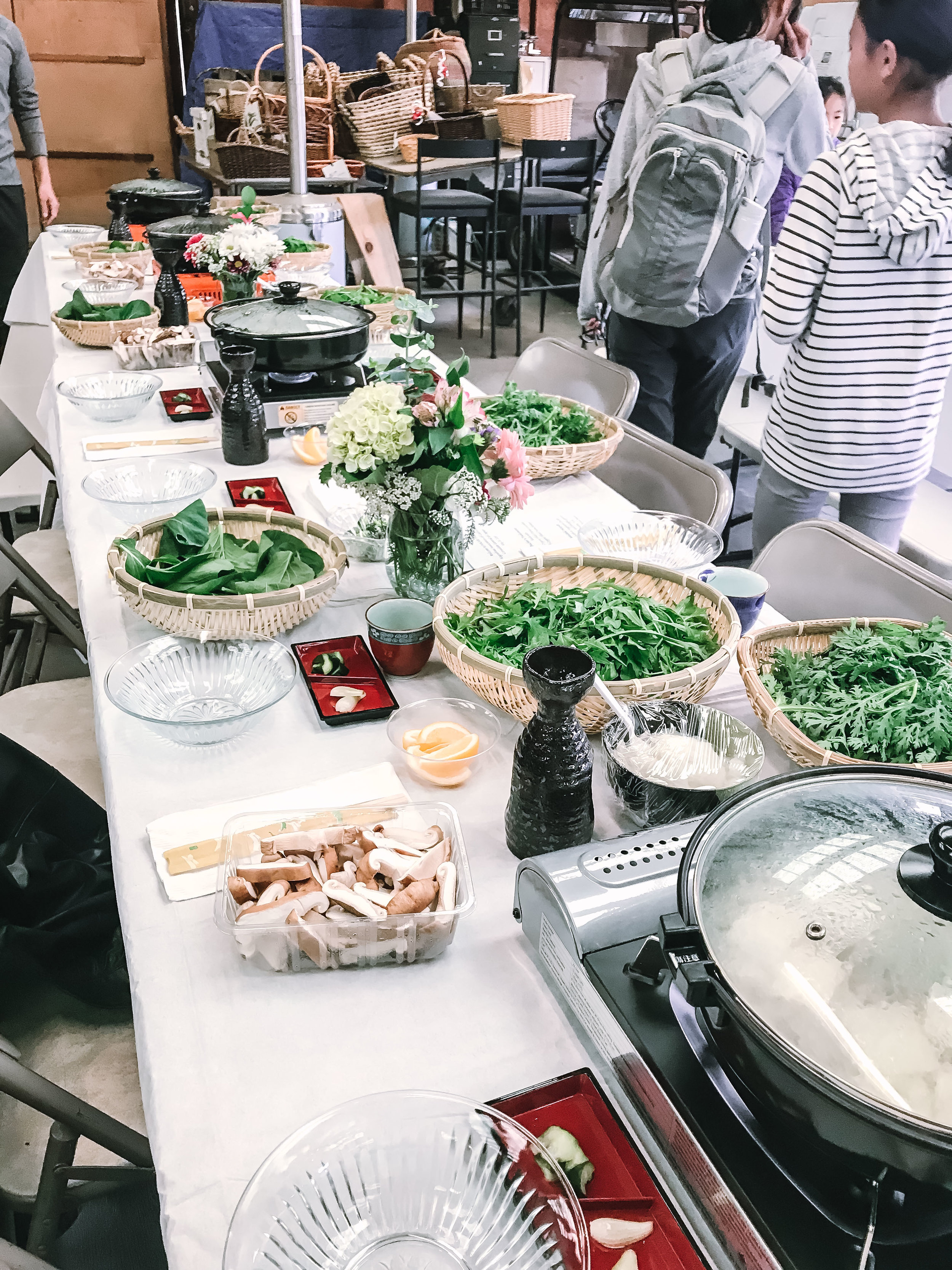 The incredible lunch spread: Nabe hot pot, with almost all ingredients harvested from the farm!