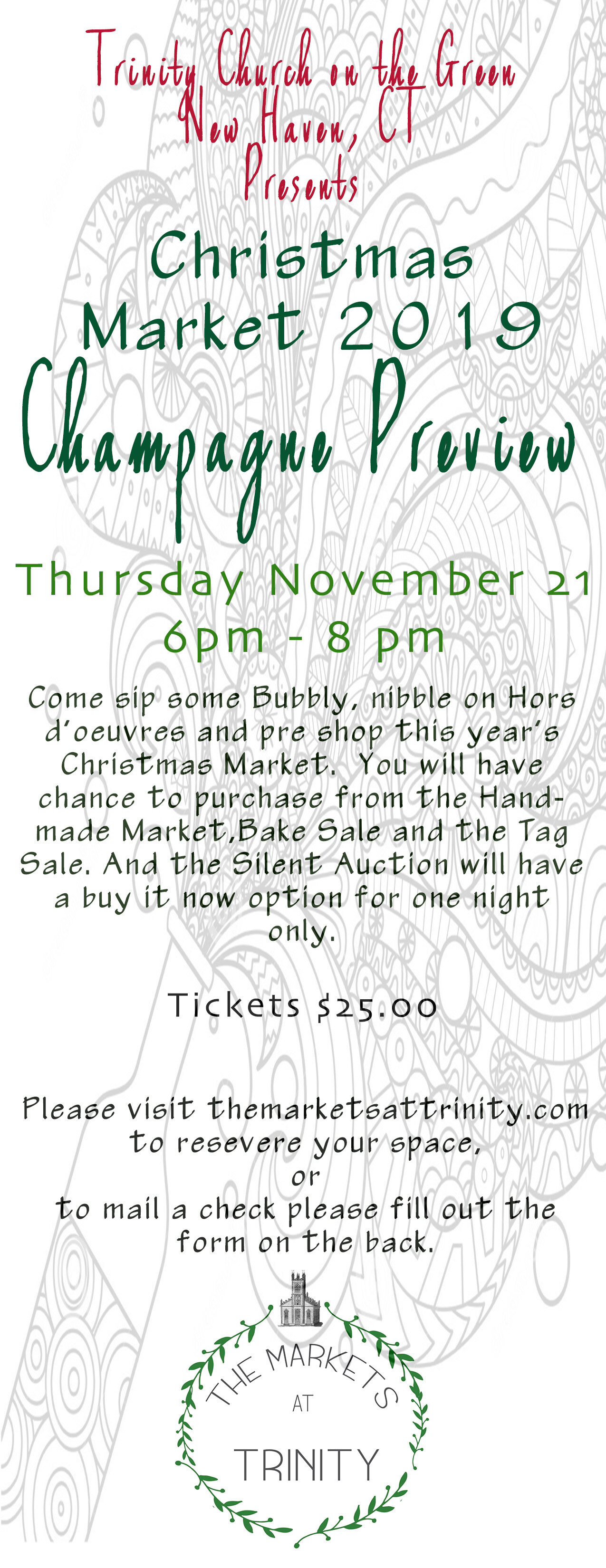 The 2019 Christmas Market is upon us. - Please join us at a Champagne preview party on Thursday Nov. 21. Tickets are now available.