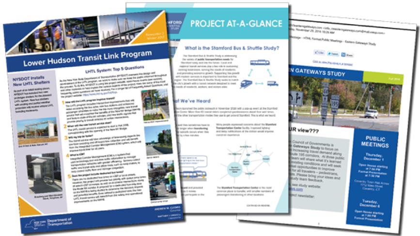 The FHI Team has provided graphically-rich flyers, fact sheets, newsletters, and formatted emails on a variety of projects. Materials can be developed to educate, gather feedback, or provide project updates.