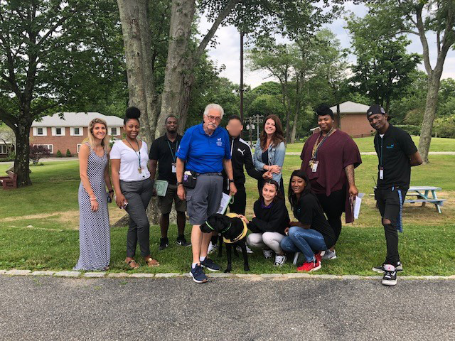 RISE Program   After collecting donations for The Guide Dog Foundation, the RISE Program received a visit from Barbara, a 16-month old guide dog in training and her puppy raiser Bill!