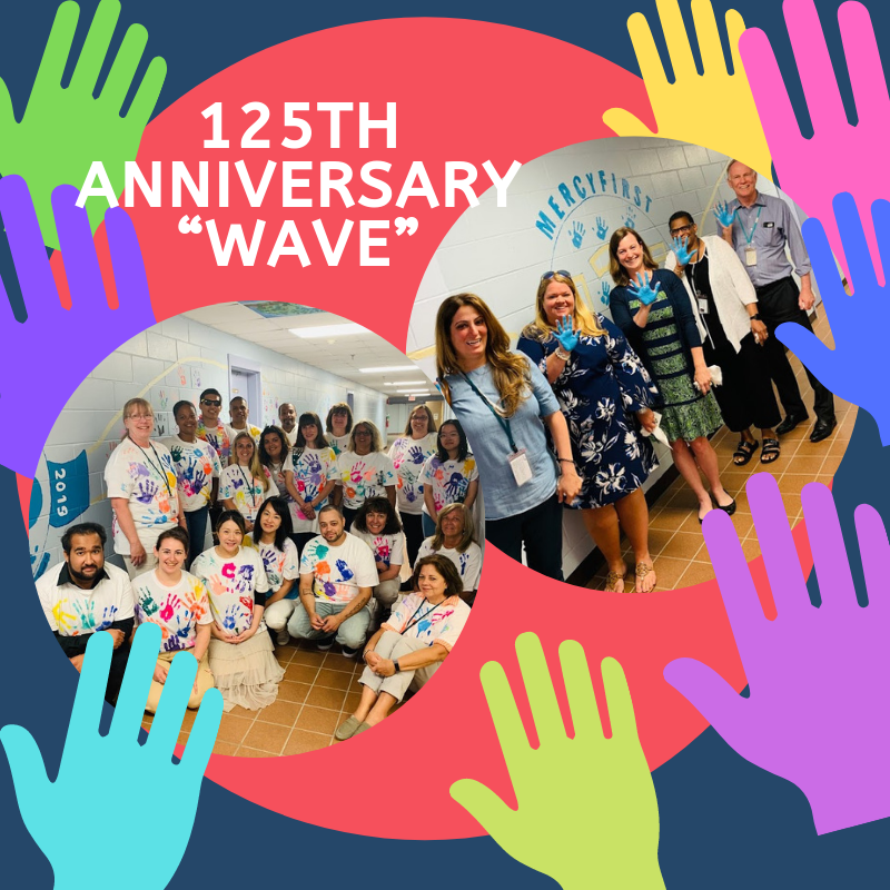 """125 Anniversary Wave Wall Mural   A """"wave"""" of Hands symbolizing the Hands that help all of the children and families over our 125 years."""