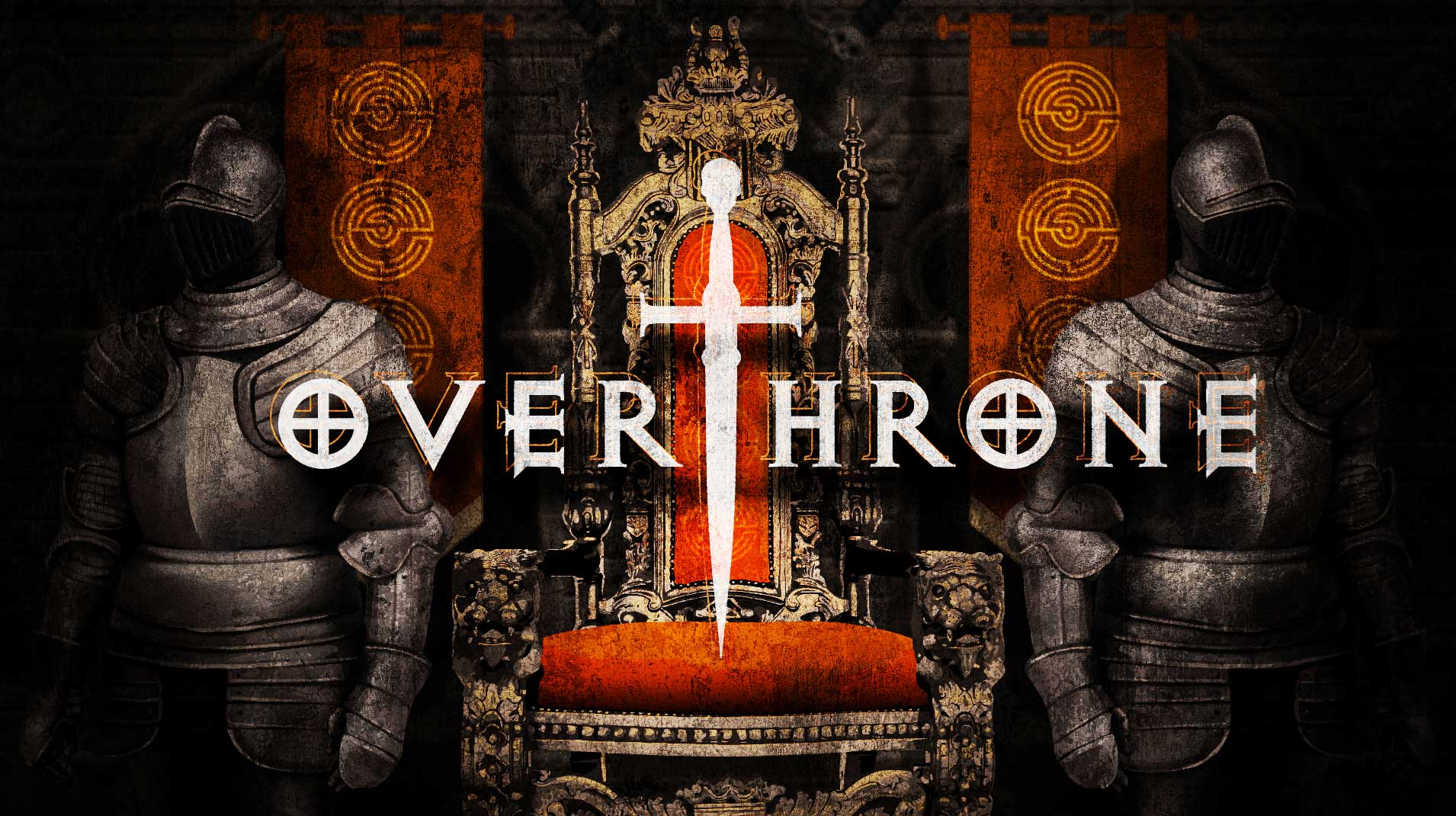 overthrone - The King is dead, long live the King!With no natural successor to the King the throne is up for grabs. Legend has it that the wily old King has hidden the sword within the castle. He who raises the legendary Sword of Britain will take the throne. You and your competitors are first onto the scene. You must explore the castle and retrieve the legendary sword before the pretenders get it, to become new King or Queen!