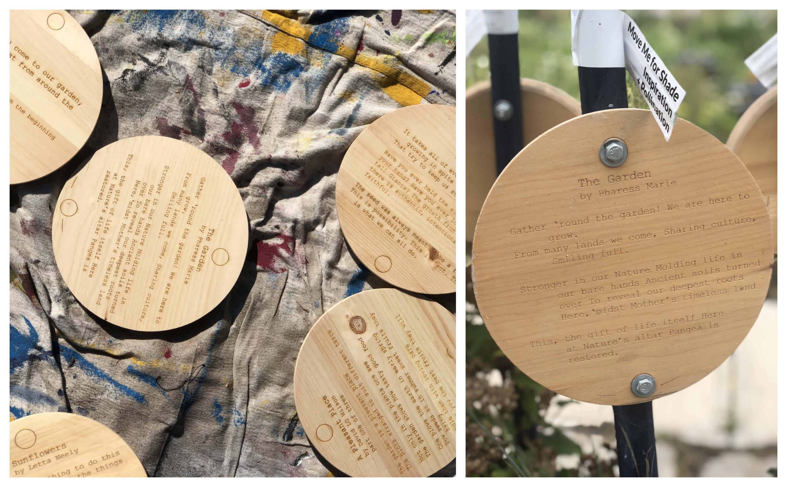 Plaques with the laser-cut poems and garden wisdom quotations.