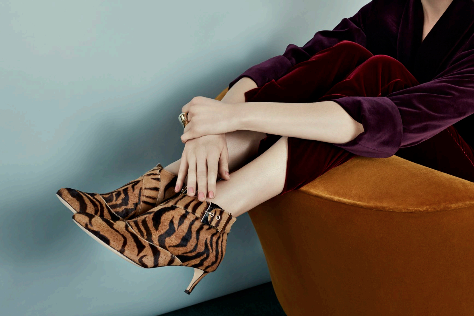 The Marlene: tiger ponyskin kitten heel ankle boots with decorative crescent buckle. Coming soon.