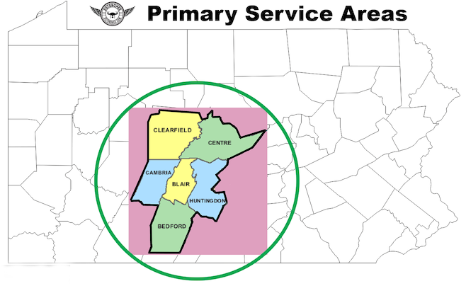 Primary Service Areas include Bedford, Blair, Cambria, Clearfield, and Huntingdon Counties in Pennsylvania.