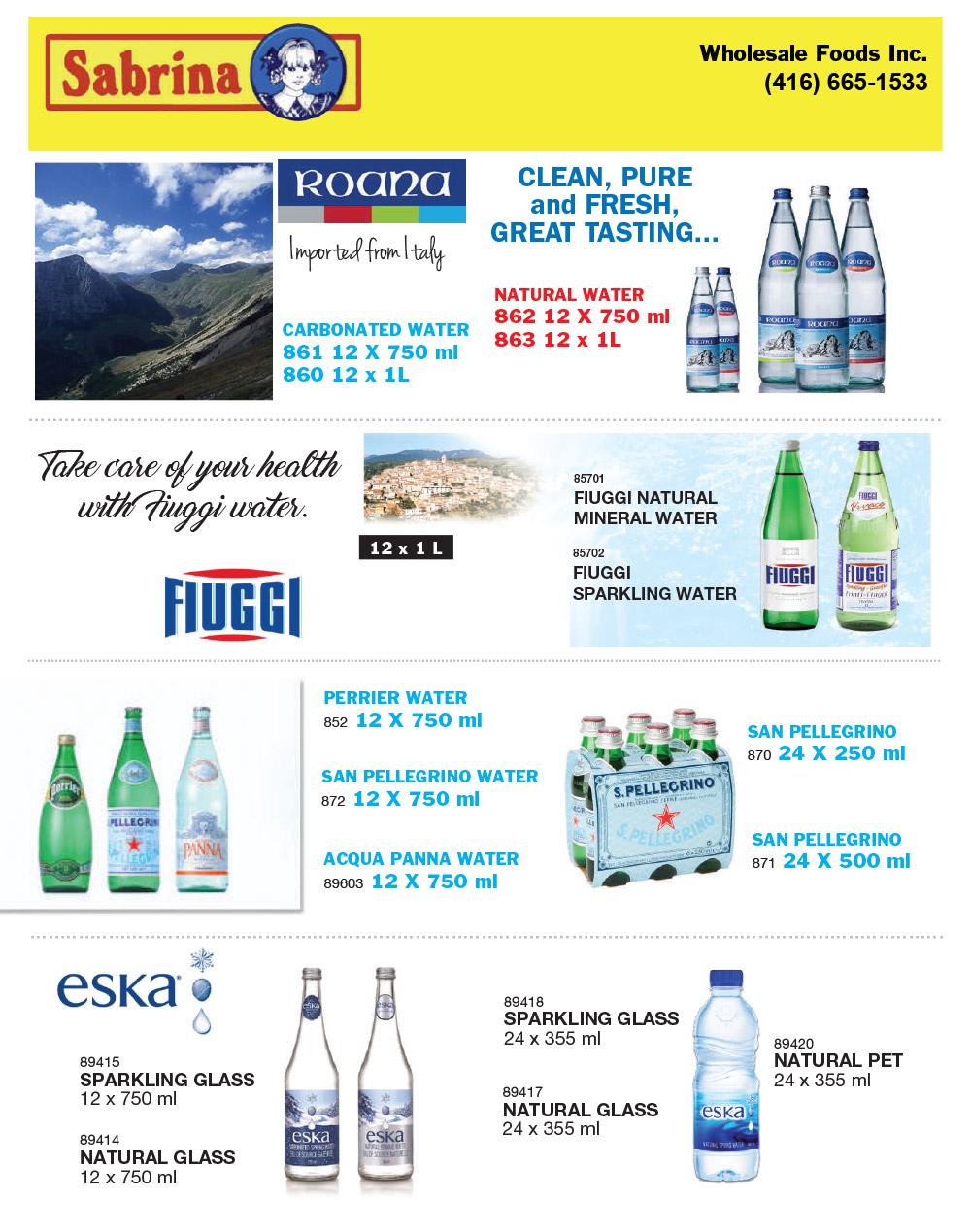 Water — Sabrina Wholesale Foods - Toronto Supplier of food