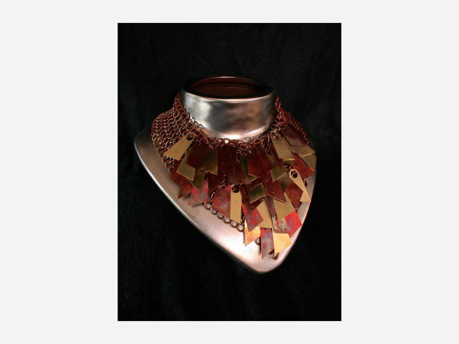 Monile; copper and brass, chain mail necklace
