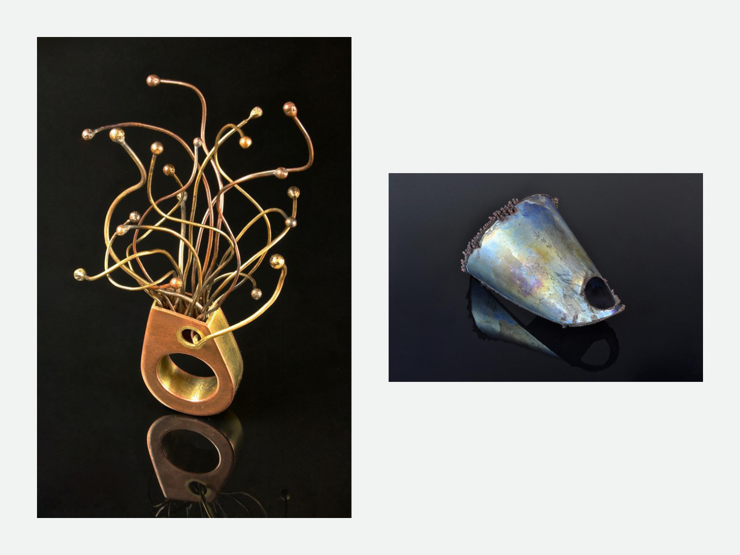 Left: Tabitha; brass and copper, hollow fabricated ring // Right: Electroformed titanium, decorative piece