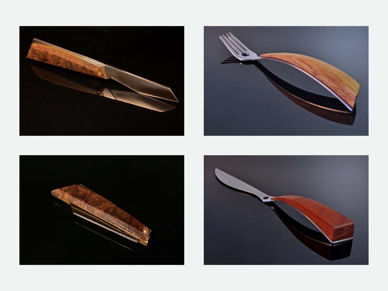 Top Left: Curabitur (open); steel, brass, spalted maple burl (stabilized wood), folding pocket knife // Bottom Left: Curabitur (closed); steel, brass, spalted maple burl (stabilized wood), folding pocket knife // Top Right: Flatware Trial No. 1; steel, canary wood, rosewood and epoxy paste, fork // Bottom Right: Flatware Trial No. 2; steel, canary wood, rosewood and epoxy paste, knife