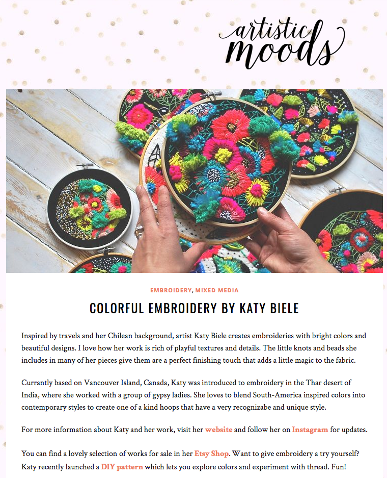 Artistic Moods, Colorful Embroidery by Katy Biele, 2017 -