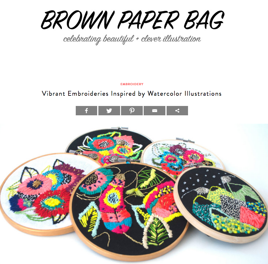 Brown Paper Bag, Vibrant Embroideries Inspired by Watercolor Illustrations, 2016 -