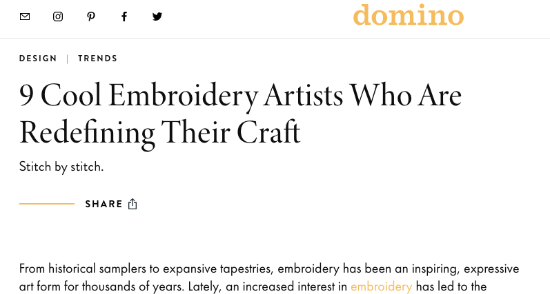 Embroidery Artists, Domino, 2019. -