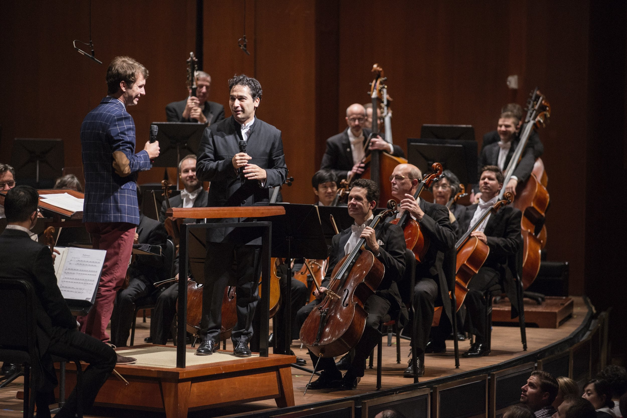 Onstage interview with conductor Andrés Orozco-Estrada before the Houston Symphony performance of  Pathways . September 23, 2016.