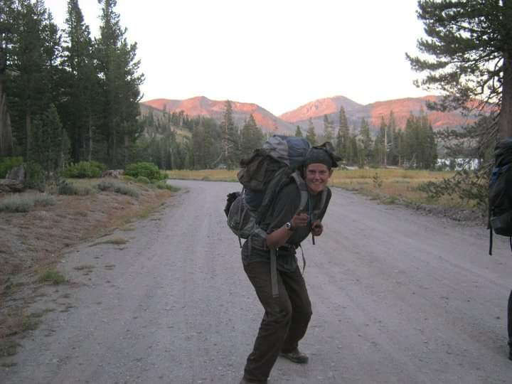 I may look like a complete dingus, but I absolutely love this photo: fresh off of a day working on the trail, several crew members and I hiked straight from our work sites to the first stop on a 35 mile round trip weekend where we bagged 2 peaks. Yes, my pack is huge, and I am filthy.
