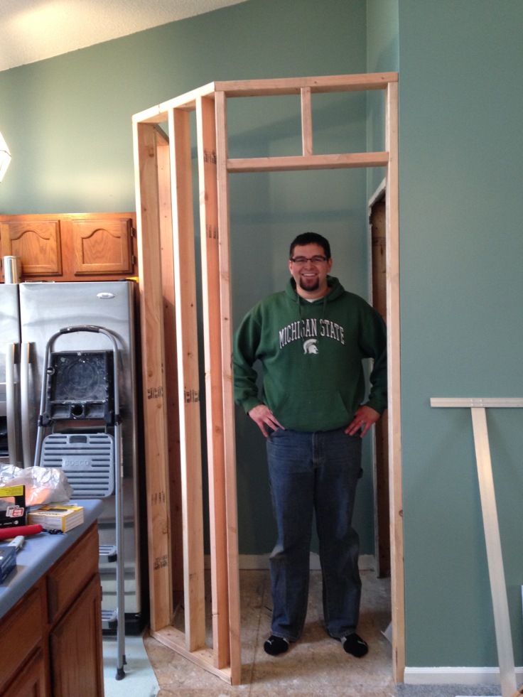 Nate showing off how roomy the pantry will be.