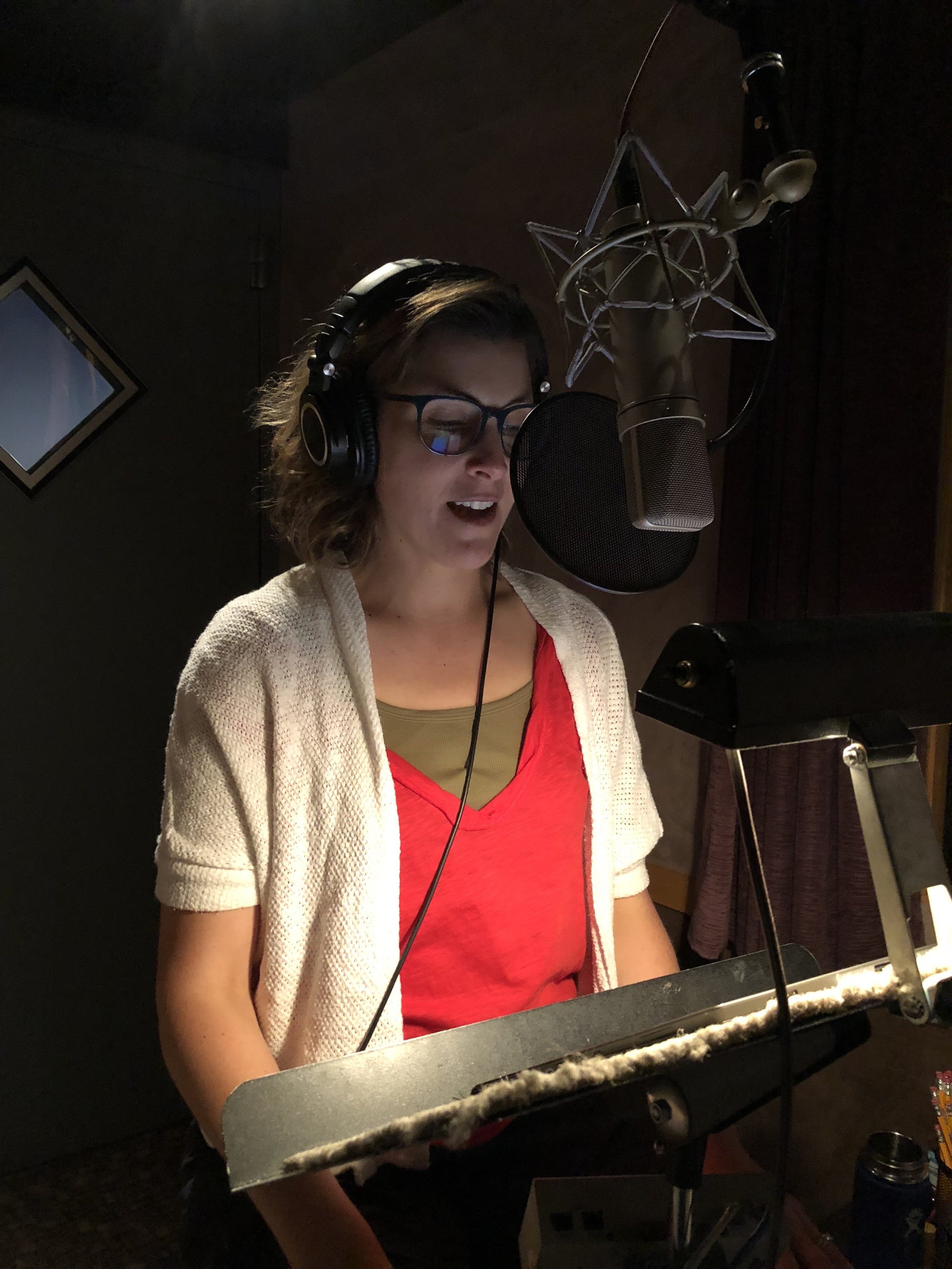 Bonnie in the studio at Clatter & Din in Seattle for the audiobook recording of  Beyond Birds and Bees