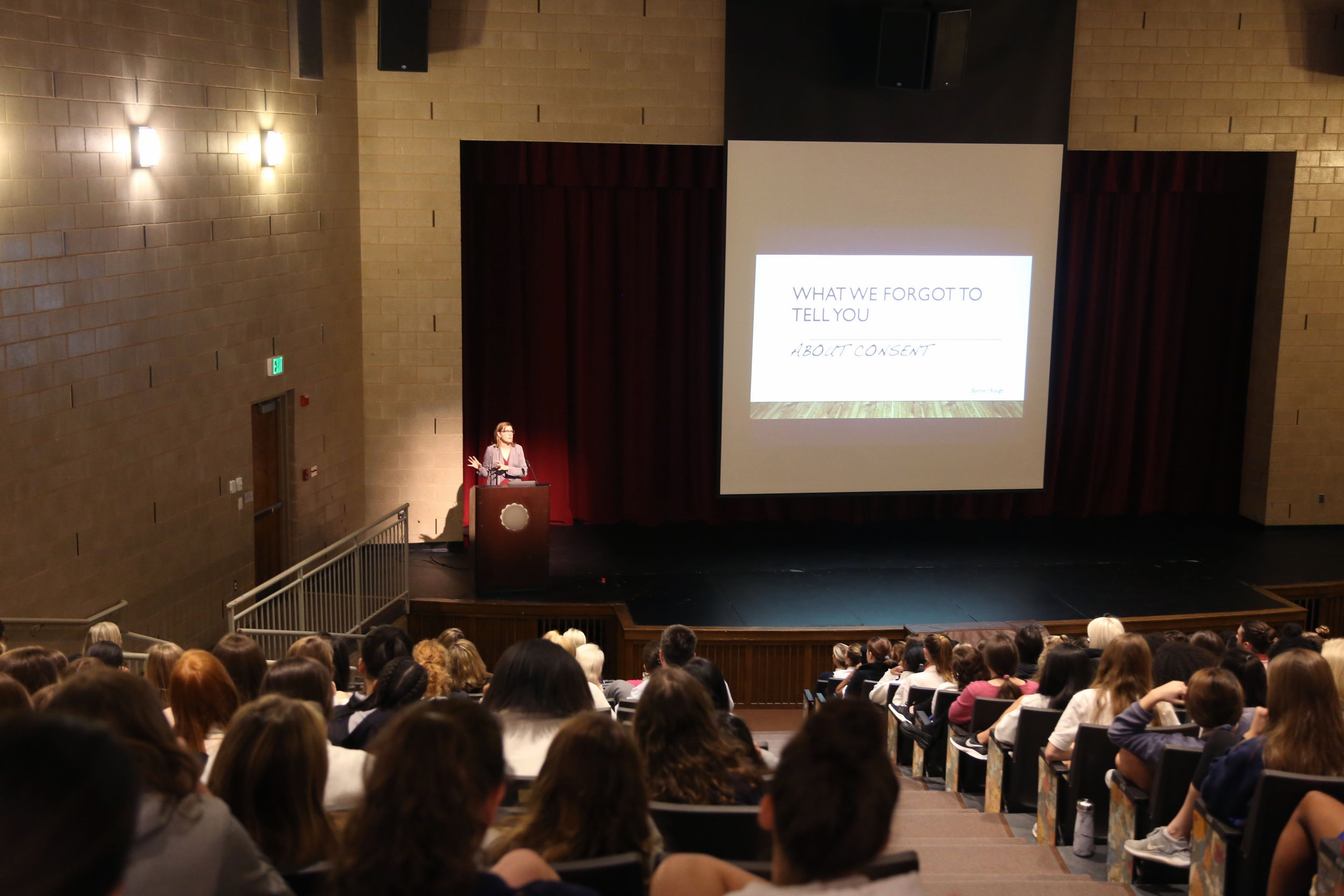 Bonnie J. Rough speaking with high school students about consent in 2018