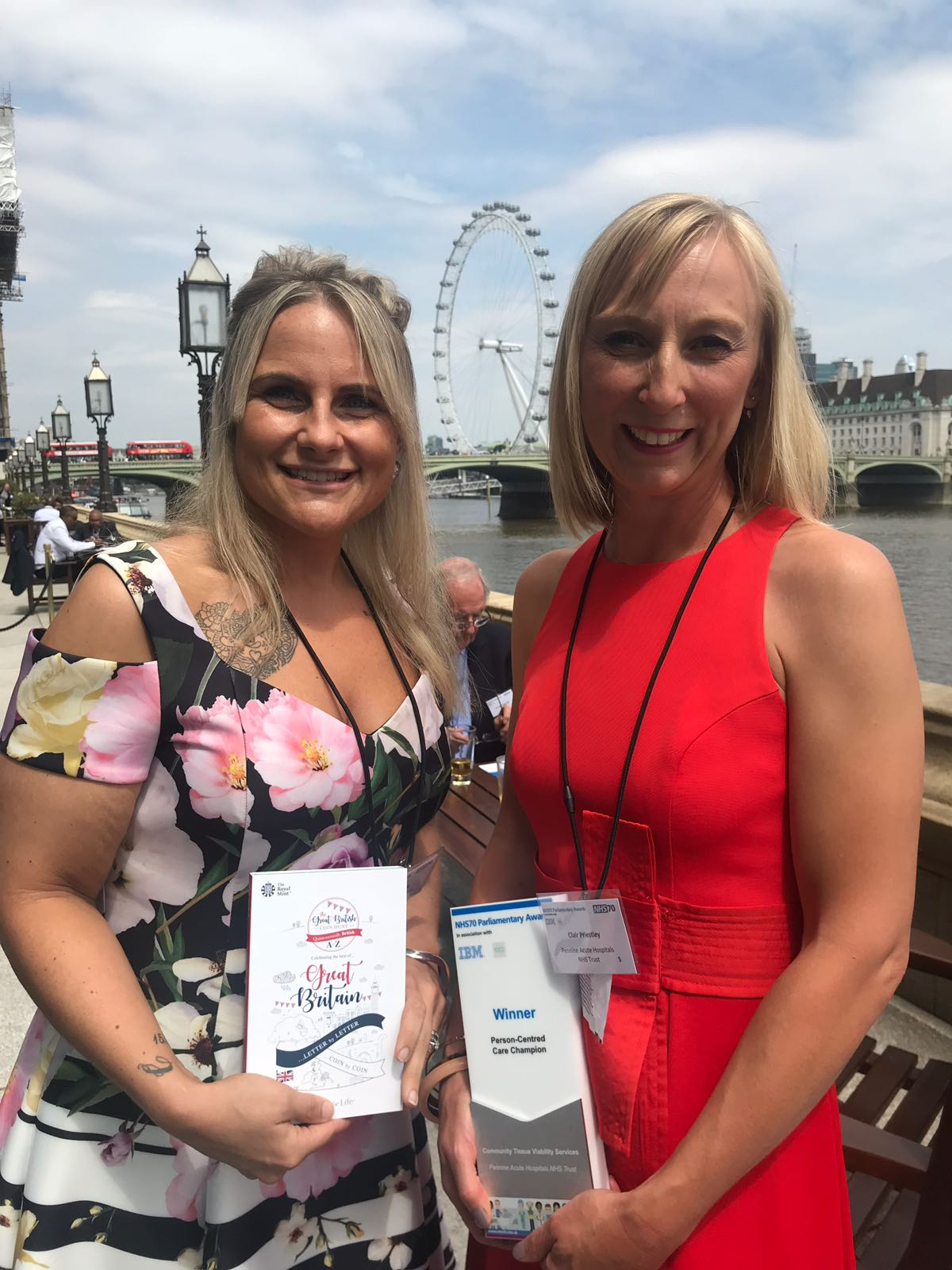 Natalie Duffy and Clair Priestley at the Houses of Parliament receiving the award.