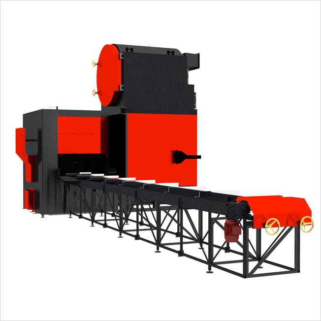 Bio-Eco Matic - Bio-Eco-Matic is the first fully automatic straw-fired batch boiler. The use of the system for automatic loading of the whole bales of straw along with a feeding chamber which is also a filter and dryer