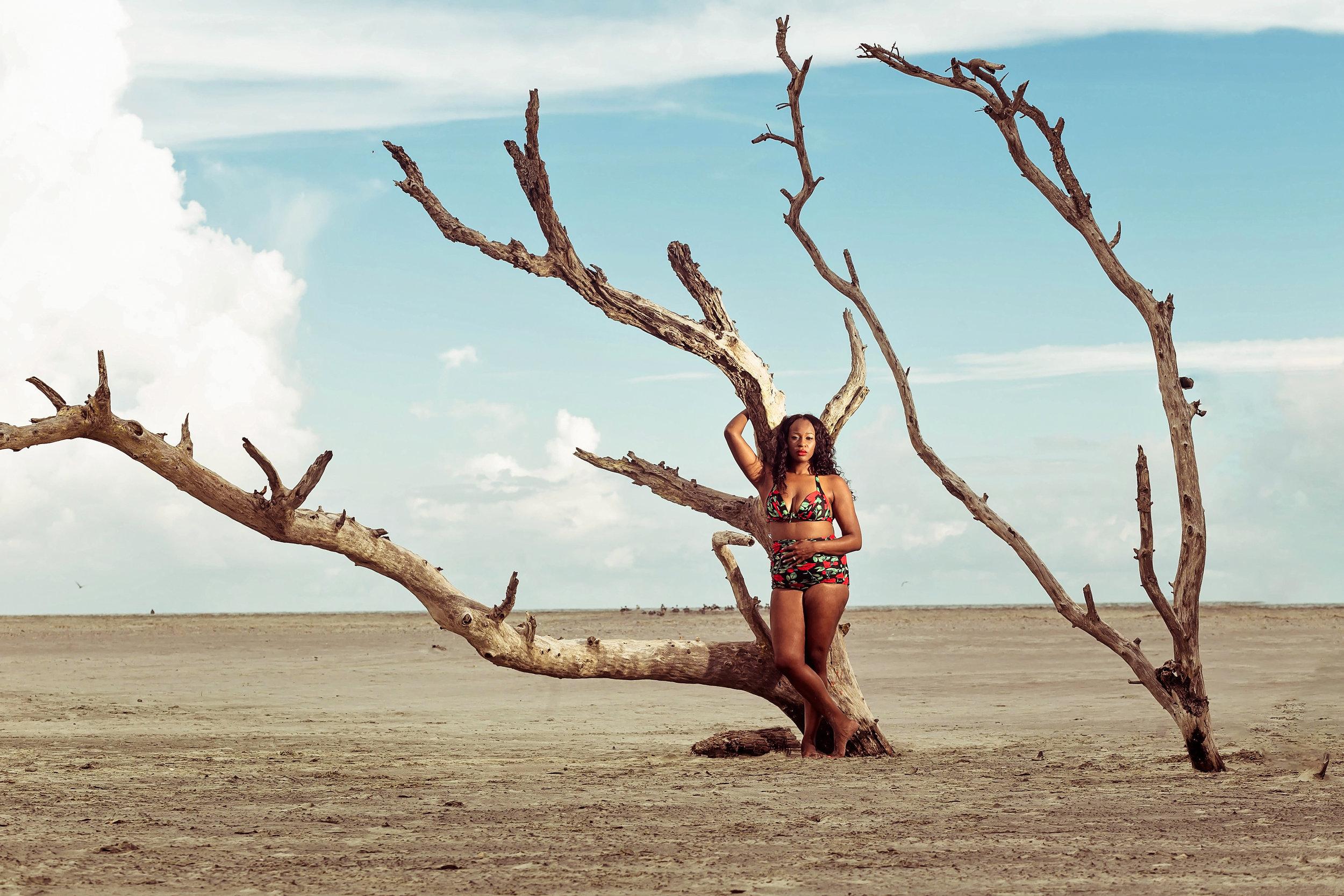Fancy Boudoir Beach Session Folly Beach African American Woman  Self Care Portrait Retreat
