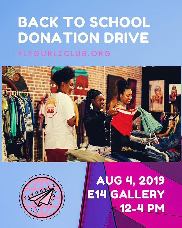 See you tmo! Get those donations packed and ready to drop off between 12-4pm in Oakland. Bart accessible, just around the corner! 💕 More details on our site @flygurlzclub