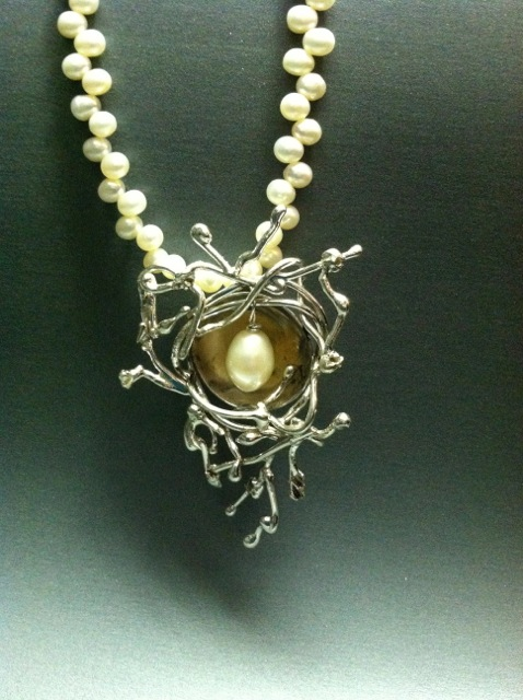 "The ""Nest"" Series custom made to order Prices start at $330.00 this includes pearl strand and drop pearl. All Sterling Silver."