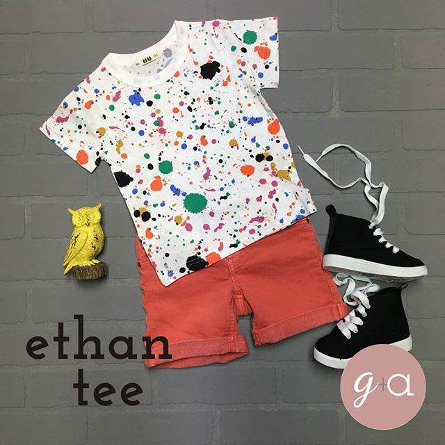 One of my favorite tee shirts for back to school is the Ethan tee. Love the paint splatter look for your cool kid. Only a few left! Grab yours today!