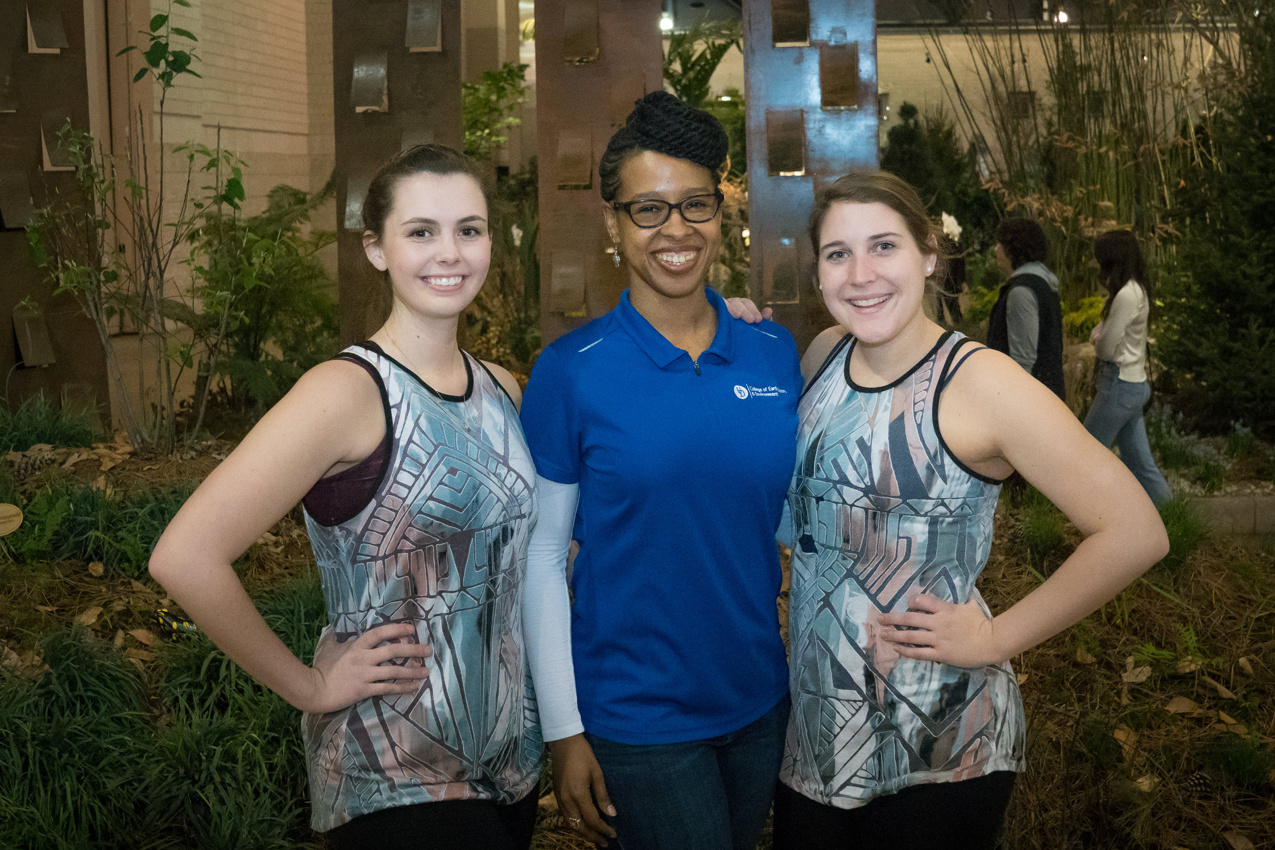 Jame McCray with two dancers at the Philadelphia Flower Show.