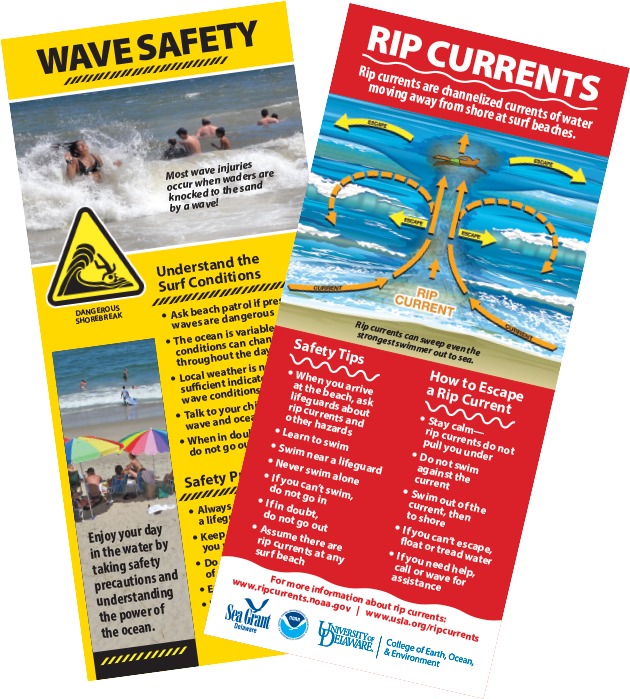 Wave safety and rip currents pamphlet. Click to download.