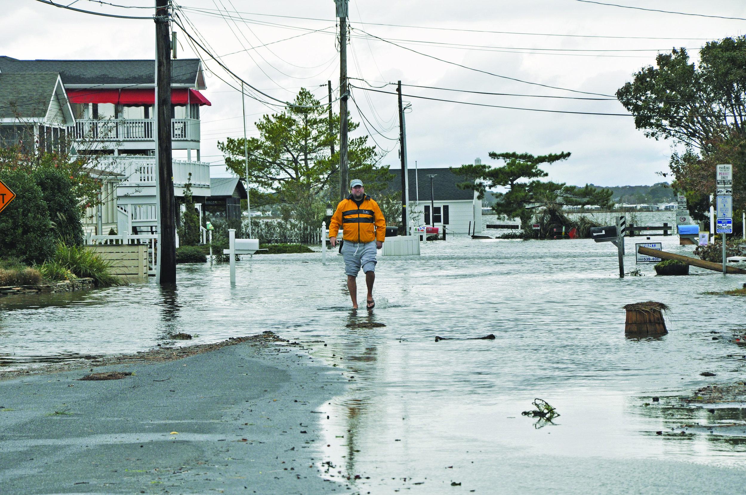 Flooding in a coastal community.
