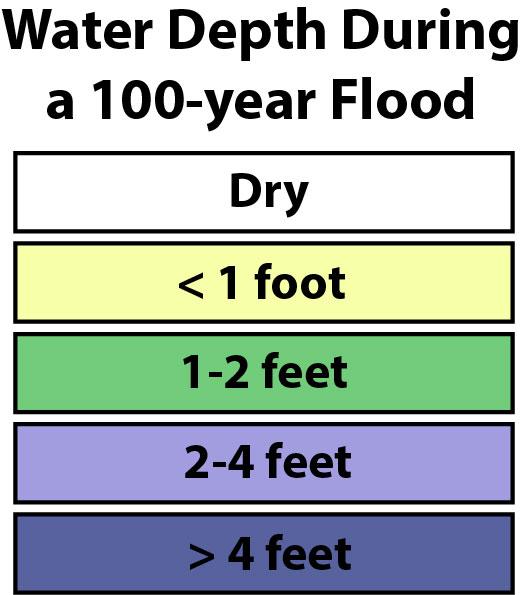 Legend, water depth during 1998 nor'easter.