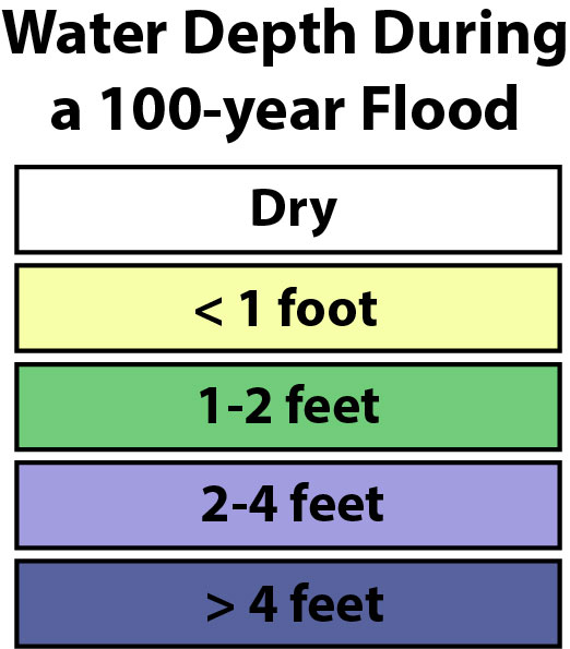 Legend, water depth during a 100-year flood.