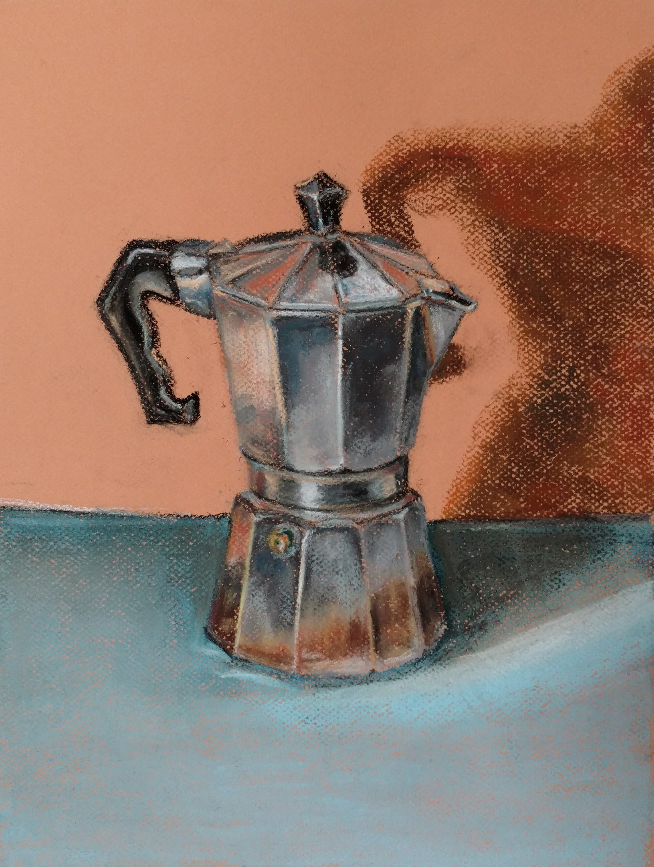 Coffee urn, Phil Tesinsky, 2018  Chalk pastel on Mitientes paper