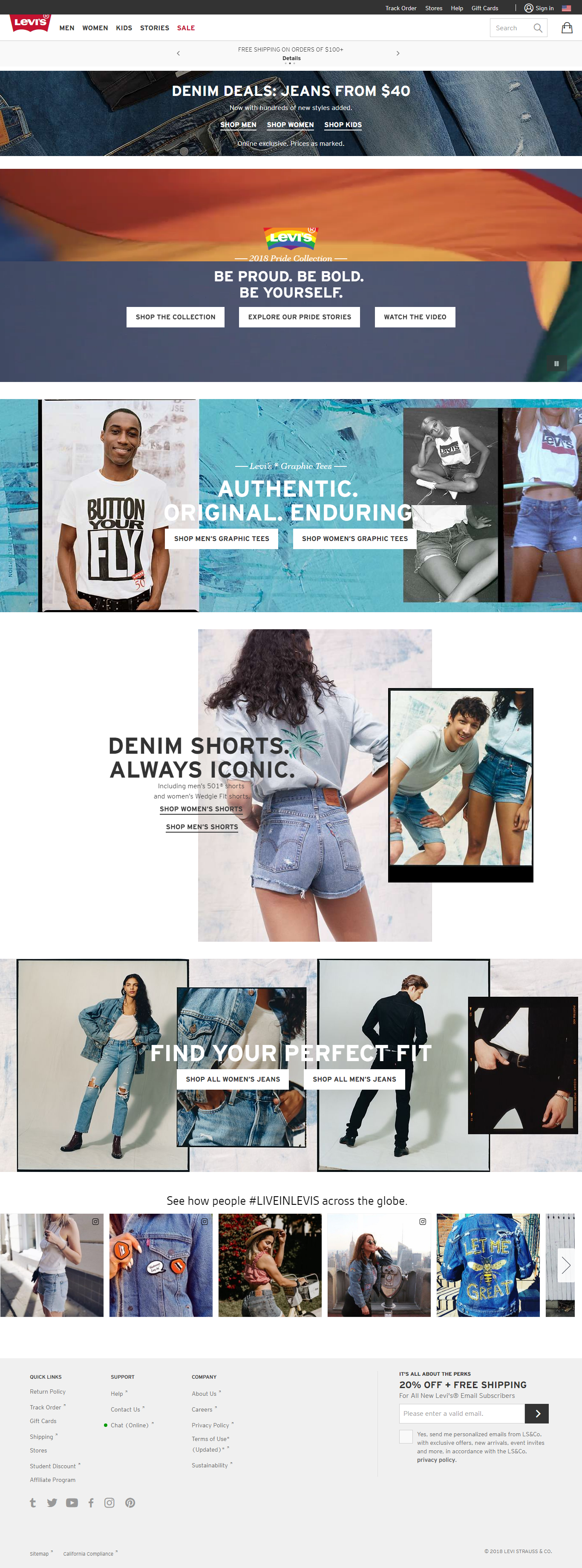 Levi's US website  Page captured 06/09/2018