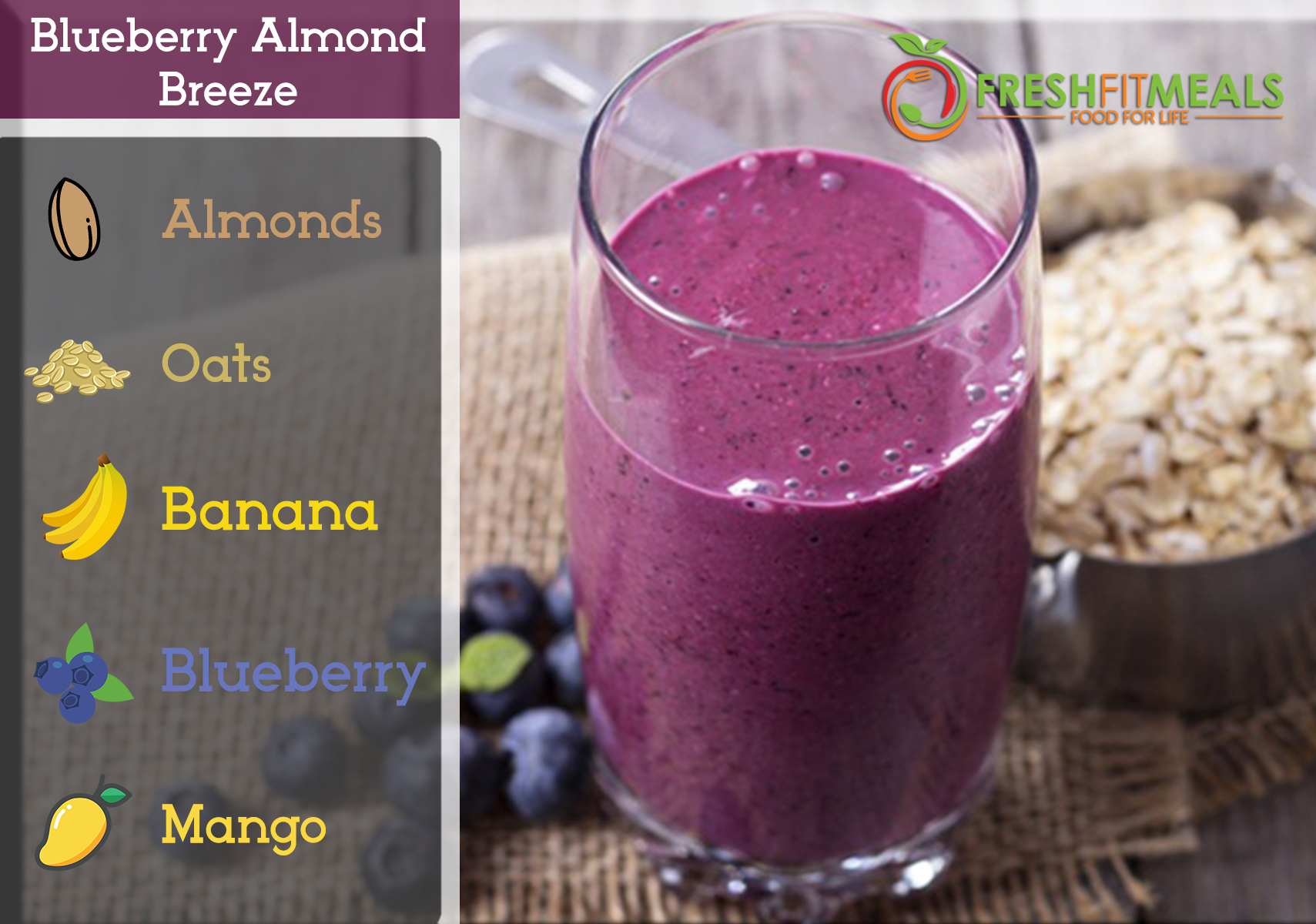 Blueberry, mango, banana, almonds, and oats.