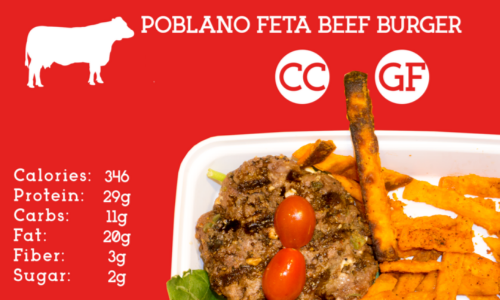 Lean ground beef packed with fresh poblanos and feta cheese served on a bed of spinach. Topped with grape tomatoes and sweet potato fries on the side.