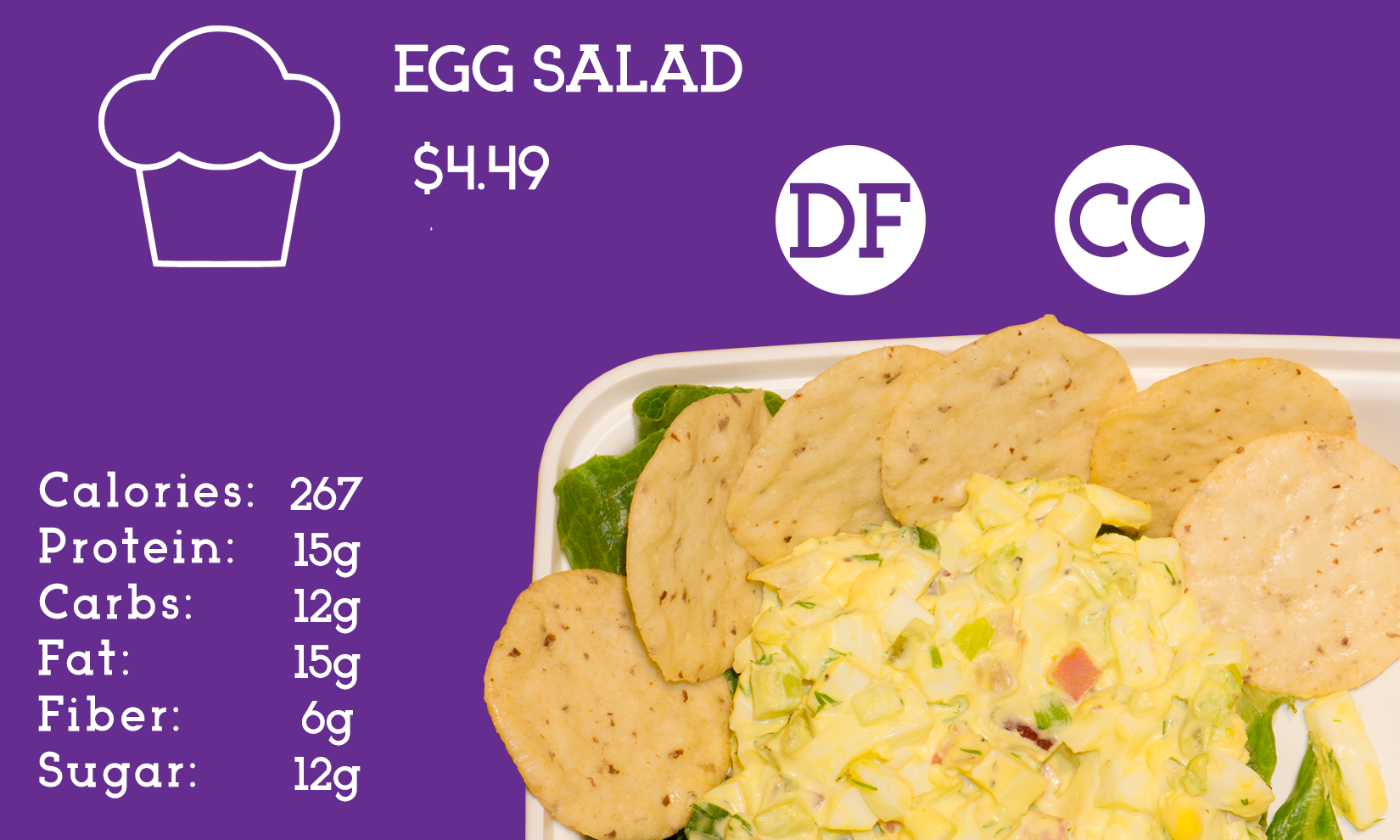 Old school egg salad with our healthy twist. Greek yogurt based with celery, onions, pickle relish and a  touch of dill.