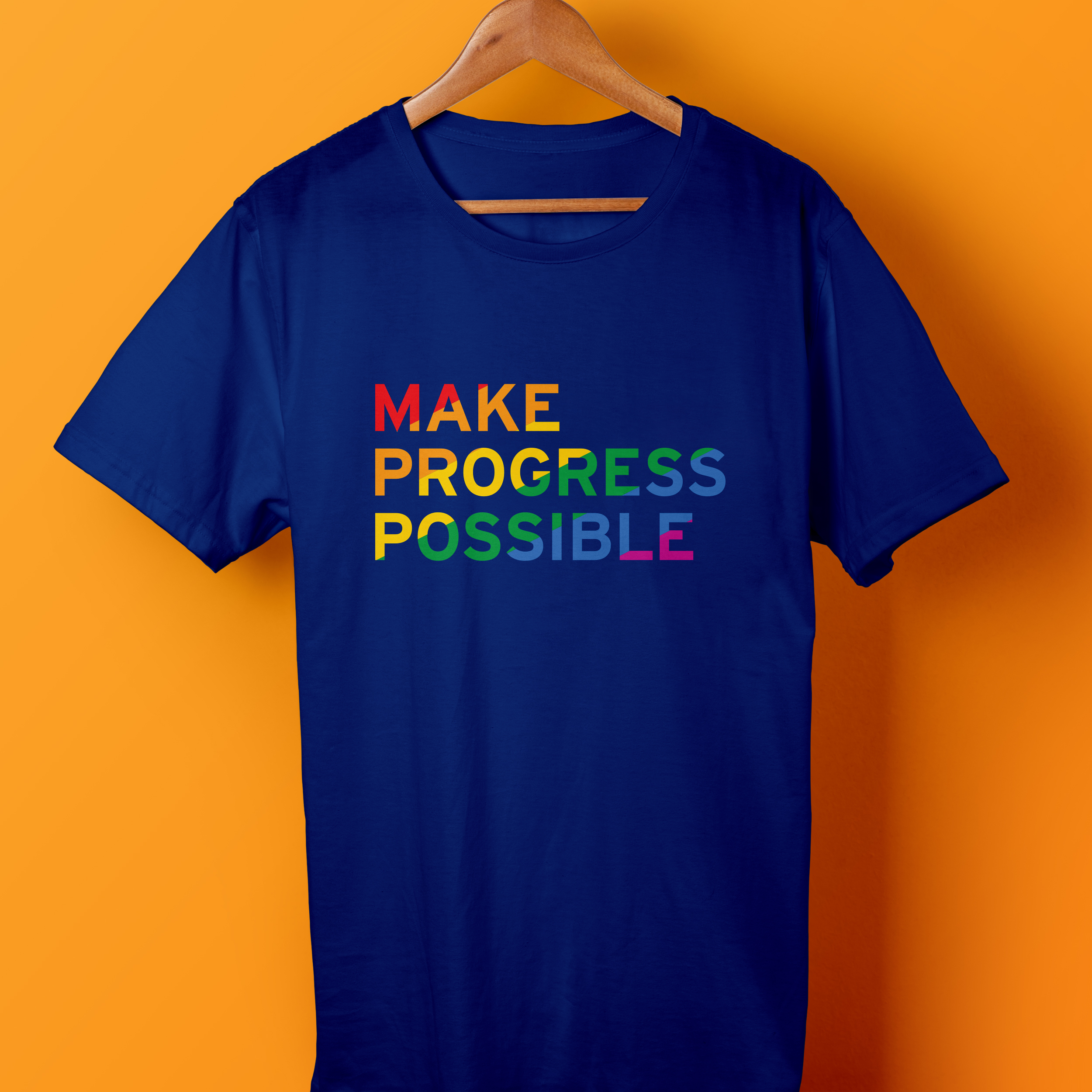 Parade T-Shirt - The rainbow color palette that highlights the faces of Citi's LGBTQ community members in other communicatiosn for this campaign is used to diagonally fill the
