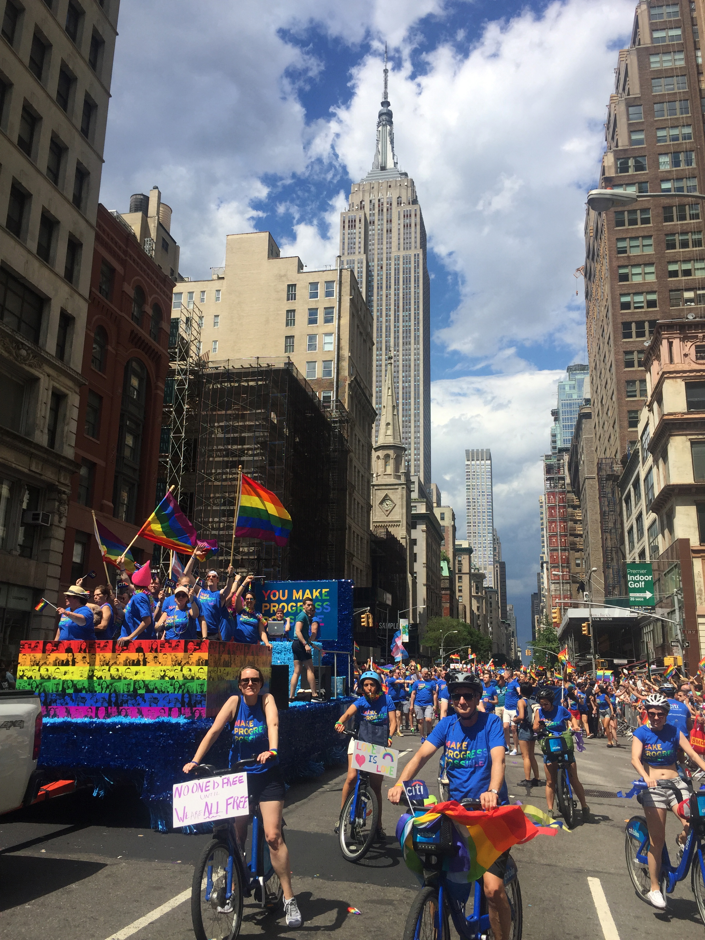 Parade Float - We worked with an event planner to design an official Pride parade float featuring visuals and messaging from other parts of the Pride campaign. It was also the perfect space for Citi LGBTQ employees to show their pride in the parade.