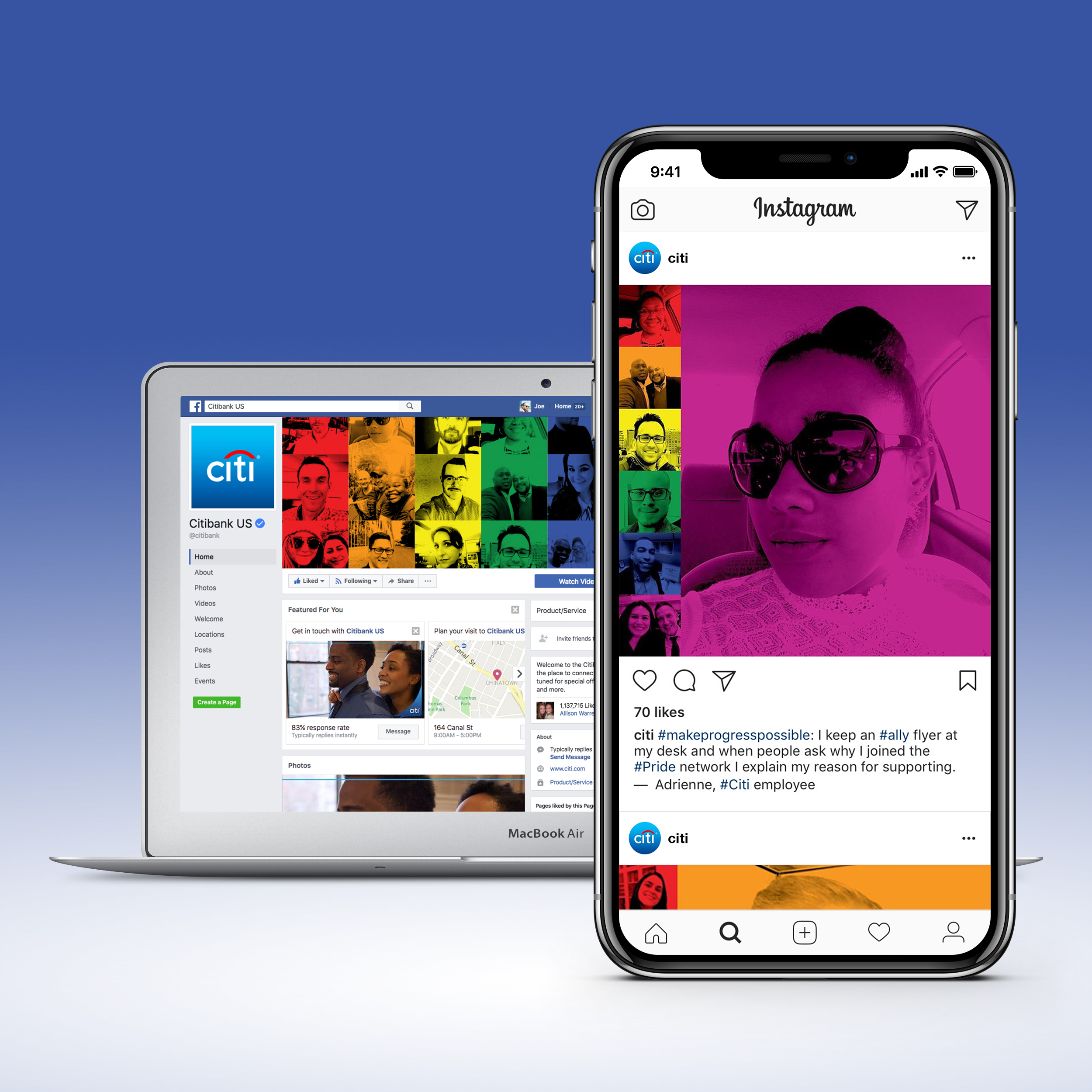 Social - Citi employees that shared their selfies for the original photo mosaic also told their Pride stories in cheerfully likable Instagram posts.
