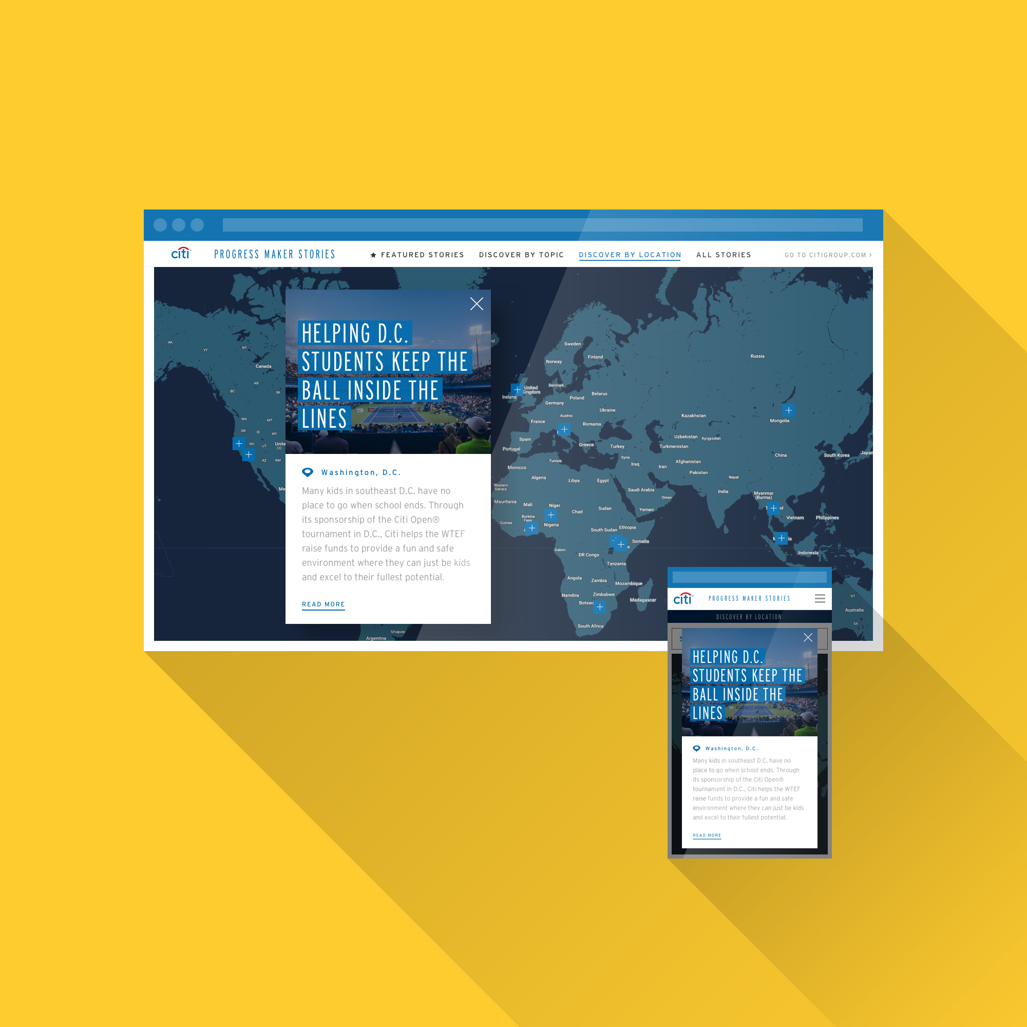 Discover By Location - Stories are also visualized geographically to inform users of the massive reach of Citi's Progress Maker Stories efforts across the globe.