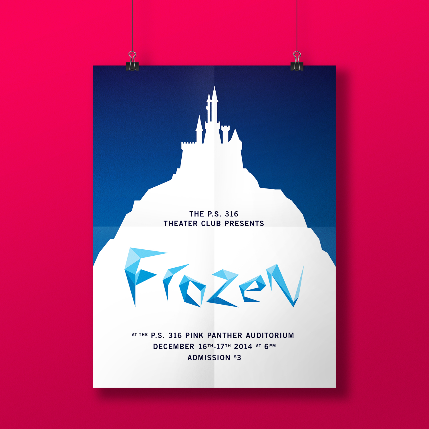 Poster - The same grid that I used for the logo and characters also informed an illustration for the castle that is Anna's home in Frozen. It worked really well for a poster promoting the production.