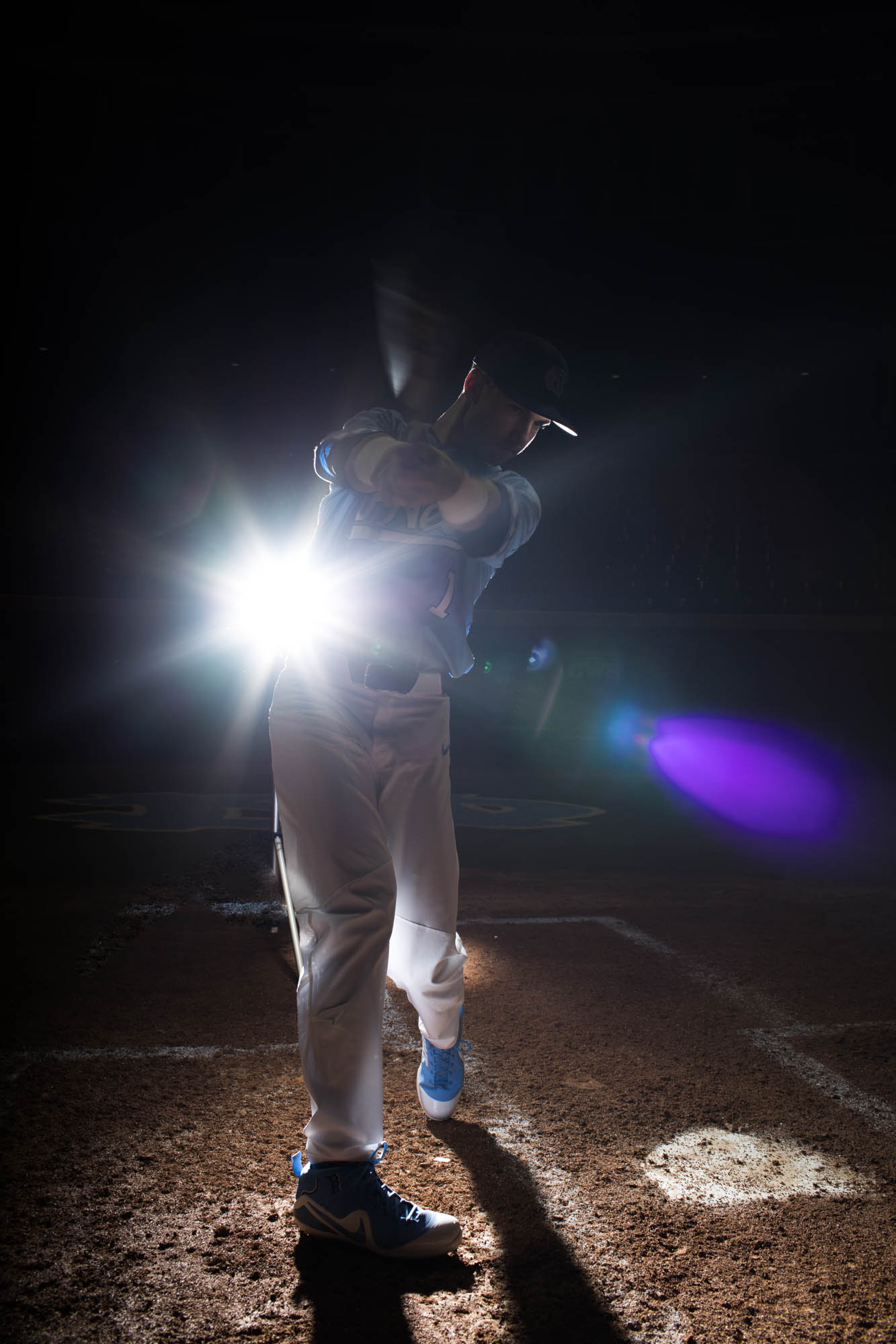 Working with multiple lights from the studio to the baseball field.