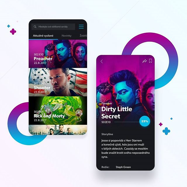 Hey #dribbblers  I've started working on a very interesting project - Mobile app for both iOS and Android for one of the biggest Czech TV series portal. . .  Check my #dribbble to see more. . .  Thanks for comment and your support! Cheers. . . . . . .  #design #designer #designinspiration #ux #uxdesignmastery #uxdesign #ui  #uidesign #uidesigner #ios #android #mobile #mobileapp #appdesign #uxdesigner #apple #google #movies #tv #series #preacher #shooter #draft #concept