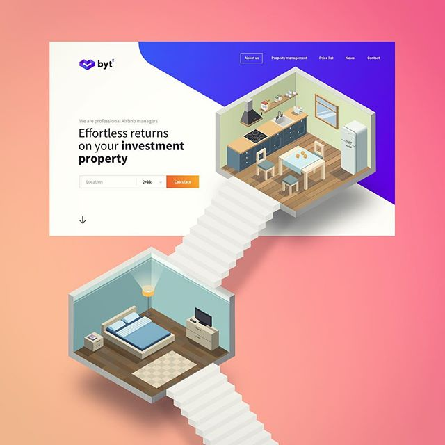 Hello Instagram,  Here is a minimalistic visual concept for Airbnb manager service. Like many people, I was amazed by Monumental Valley, and I wish to try to play with its idea in my designs. It is the very early stage, but I plan to create a geometrical walkthrough the apartment with parallax effect while scrolling. Finger crossed :-P :-P . . . Check my @dribbble account: dribbble.com/noisyboy @dribbblers @dribbblepopular . #website #landingpage #ui #ux #uidesign #uidesign #uxdesigner #uxdesign #userexperiencedesign #monumentalvaley #inspiration #productdesign #productdesigner #design #designselection #airbnb #dribbble #becreative #colors #sketch #photoshop #webdesign #webdesigner #creativevibes