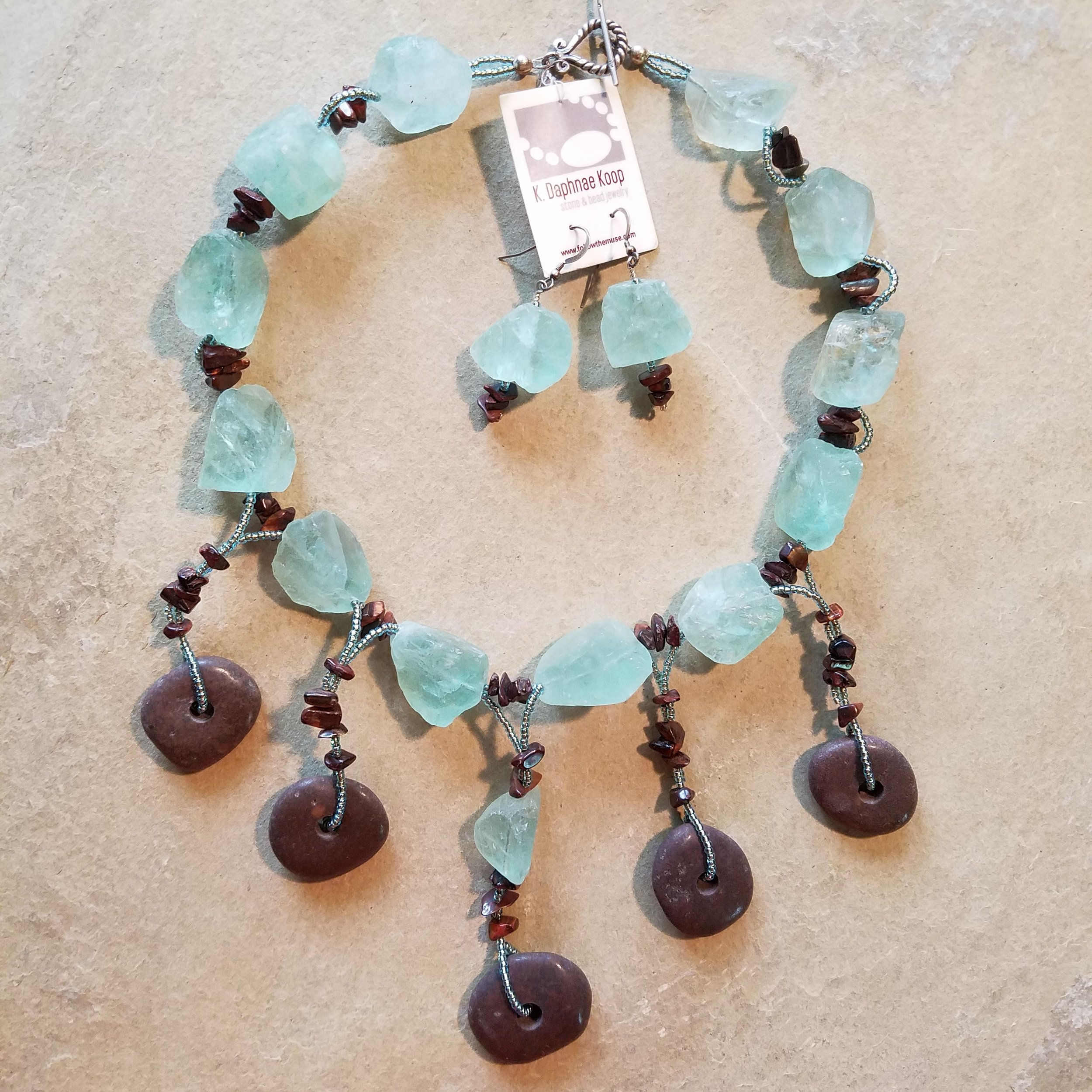 Beach Stone and Bead Necklace
