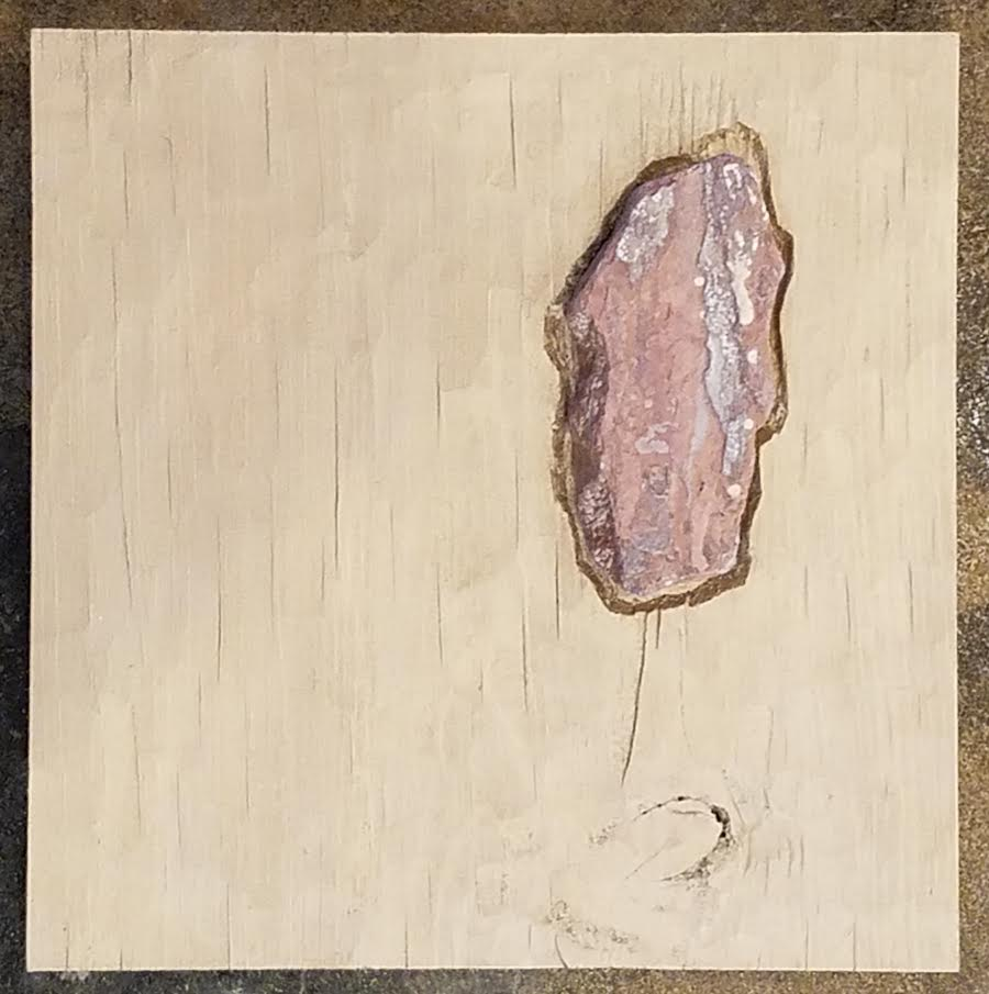 Untitled - Mixed media with stone on carved wood panel