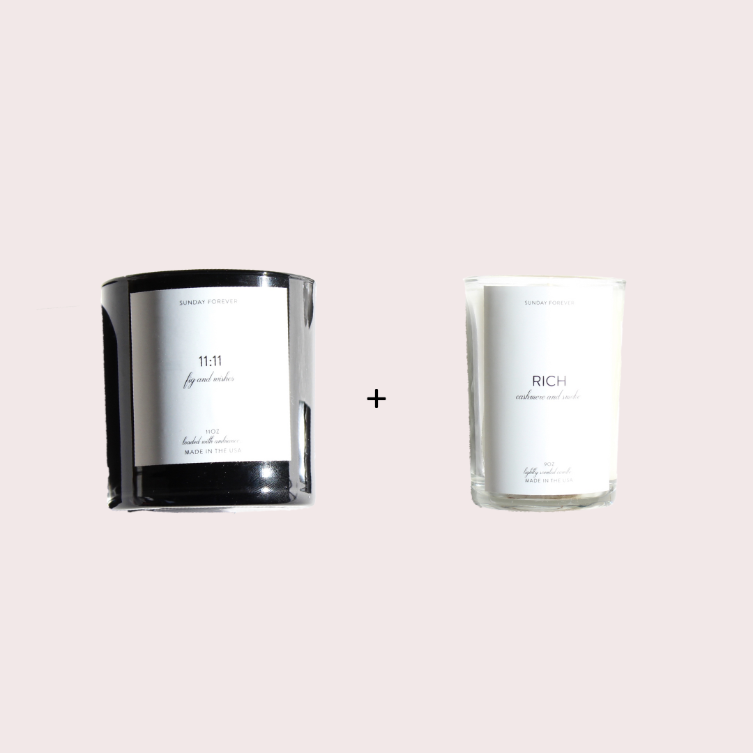 WHEN YOU LIVE IN A STUDIO APARTMENT BUT WANT TO FEEL LIKE YOU'RE LIVING THAT PENTHOUSE LIFE - 11:11 + RICHIt doesn't get chicer or more expensive smelling than combining our RICH candle with 11:11. The cashmere smokiness of RICH mixed with the deep dark figgy-ness of 11:11 will make you want to shop the more expensive section of H&M like it's nothing.